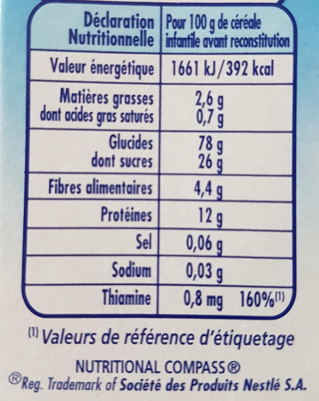 P'tite Céréale Bio Vanille - Nutrition facts
