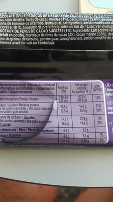 Glace chocolat intense - Informations nutritionnelles
