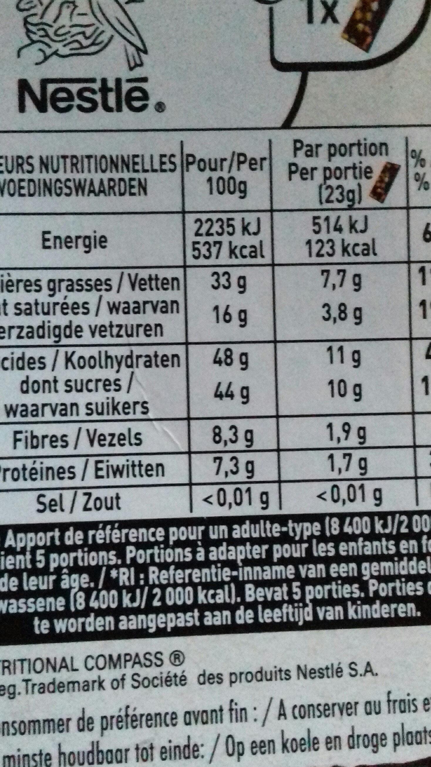 Noir orange confite - Nutrition facts