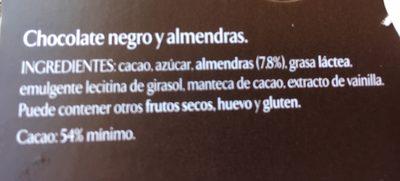 Chocolate Negro Con Almendras - Ingredients - es