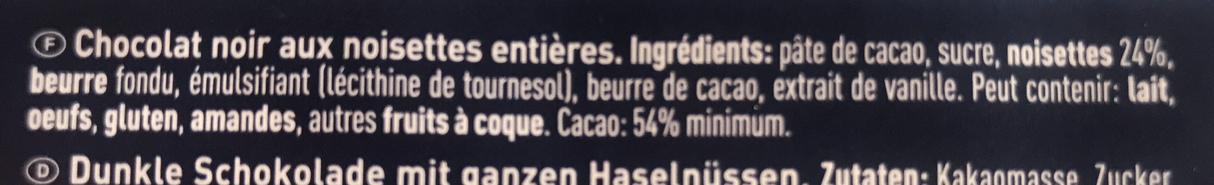 Chocolat noir aux noisettes entières - Ingredients