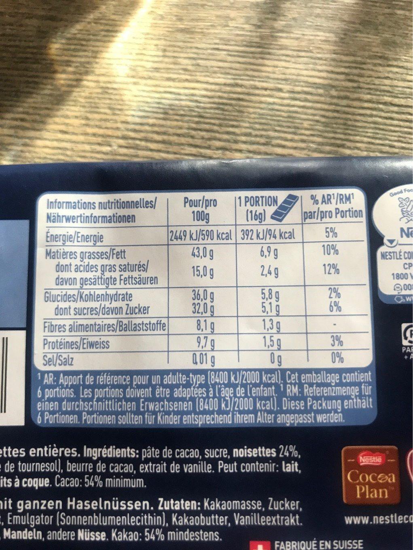 Chocolat noir aux noisettes entières - Nutrition facts