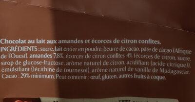 NESTLE L'ATELIER Chocolat au Lait Amandes Citron - Ingredienti - fr