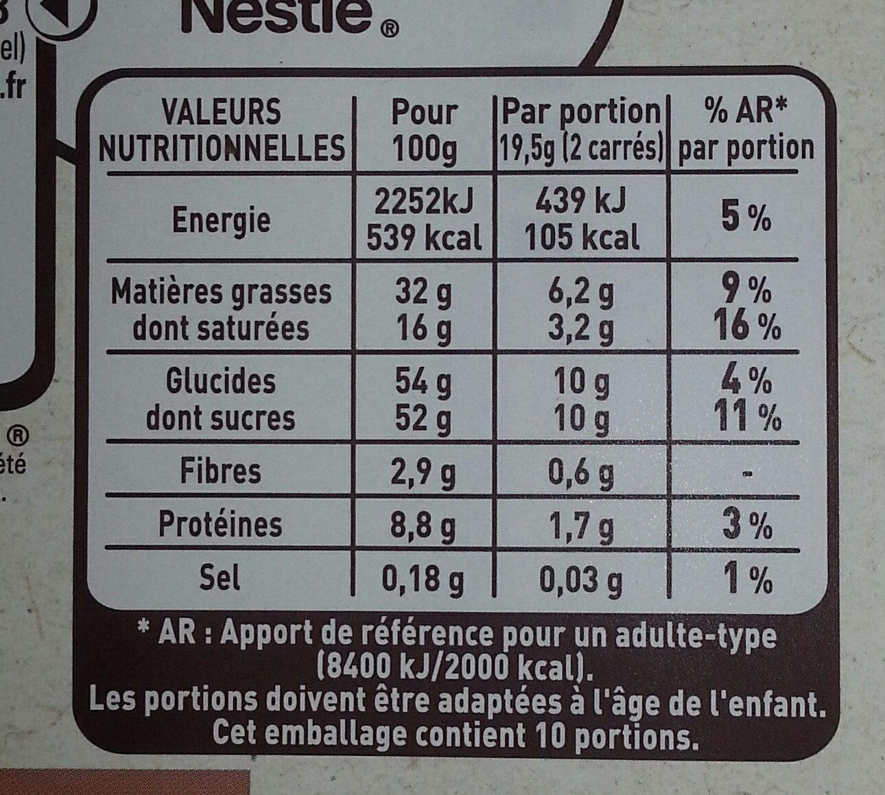 NESTLE L'ATELIER Chocolat au Lait Amandes Citron - Valori nutrizionali - fr