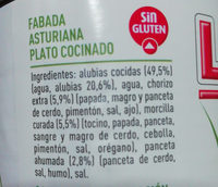 Fabada asturiana -30%baja en sal y grasas - Съставки - es