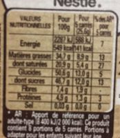 Chocolat noir dessert - Nutrition facts - fr
