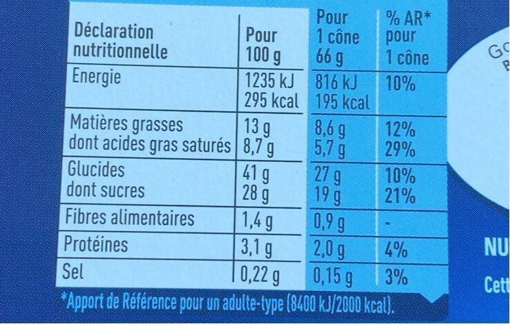 Glace cookie - Valori nutrizionali - fr
