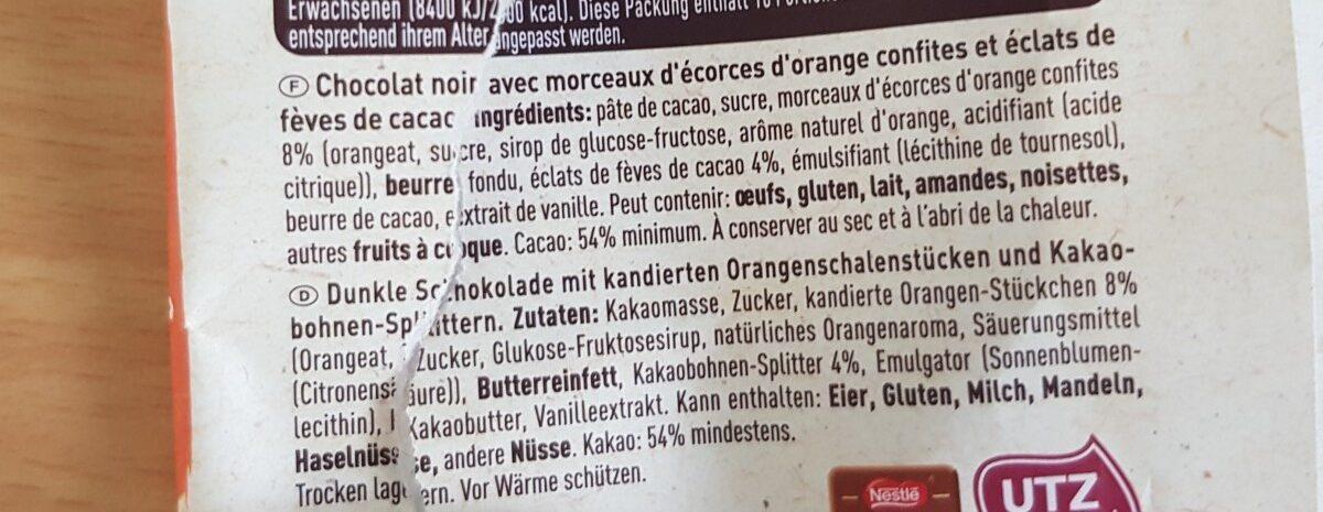 Chocolat noir orange confite et éclats de fèves de cacao - Ingredients - fr