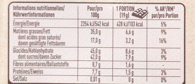 Chocolat noir orange confite et éclats de fèves de cacao - Nutrition facts - fr