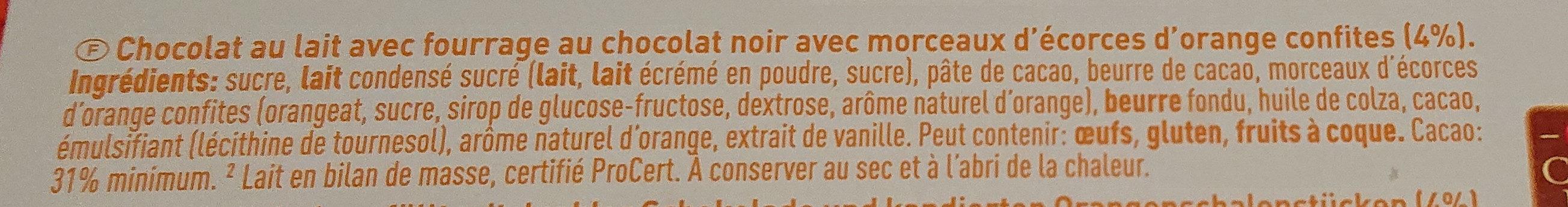 Milchschokolade mit orangenfullung - Ingredients - fr