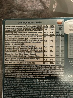 CAPPUCCINO INTENSO EXTRA CREMOSO - Nutrition facts - en