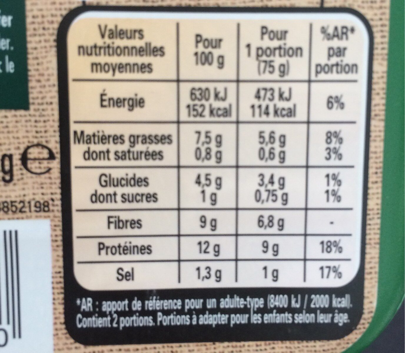 LE BON VEGETAL Escalope grillée soja et blé - Valori nutrizionali - fr