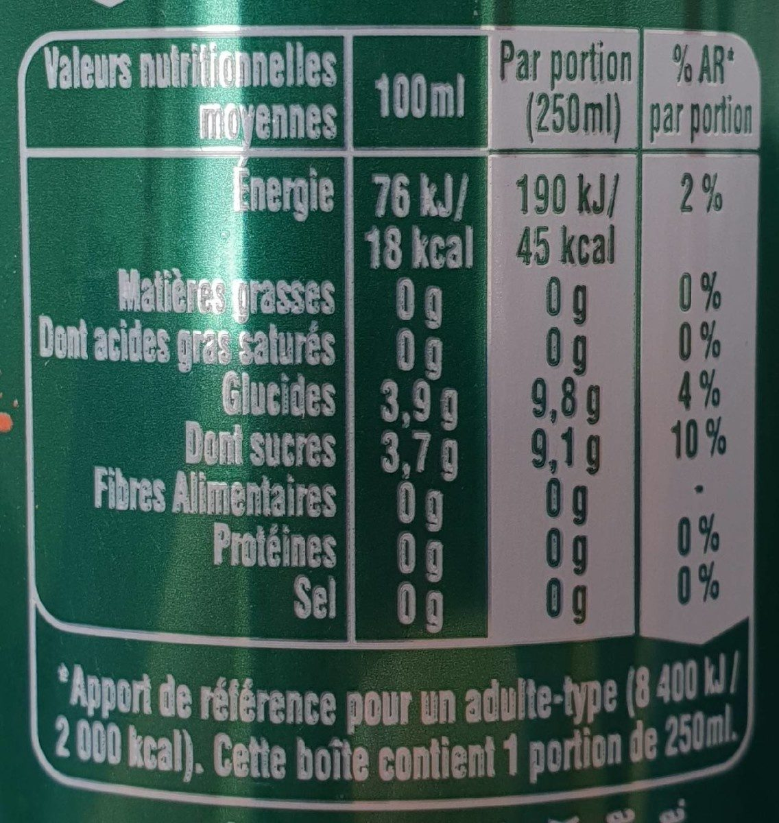 Perrier & Juice pêche & cerise - Nutrition facts