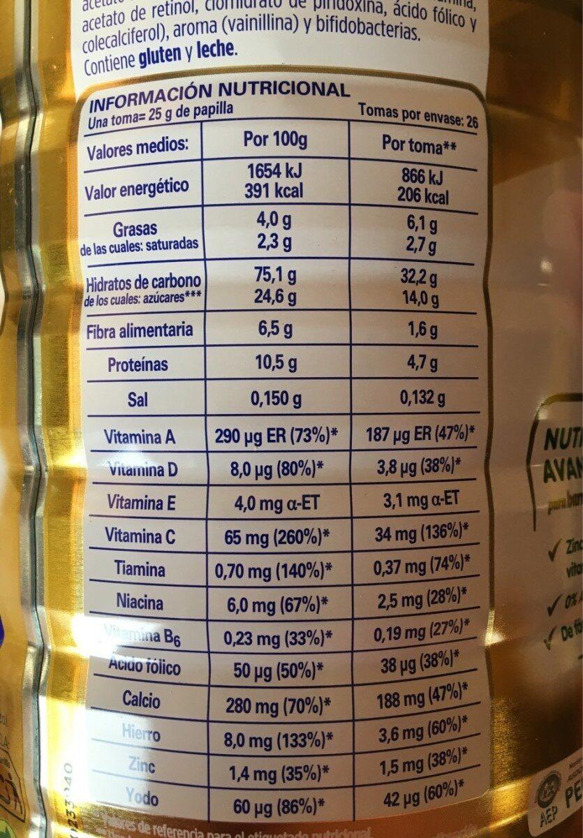 8 cereales con galleta 6 meses - Valori nutrizionali - es