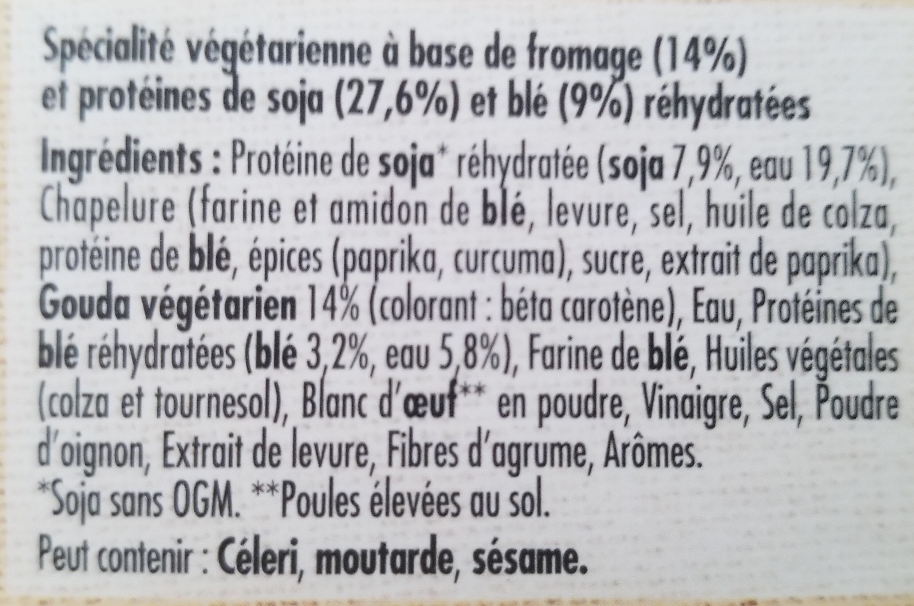 Pavé Gourmand Fromage soja et blé - Ingredients