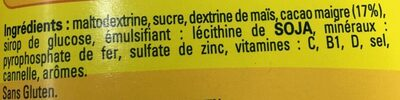NESQUIK Moins de Sucres Poudre Cacaotée boîte - Ingredientes - fr