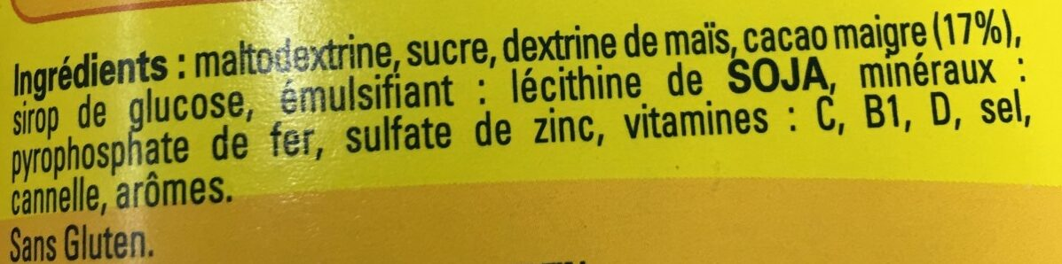 NESQUIK Moins de Sucres Poudre Cacaotée boîte - Ingredienti - fr