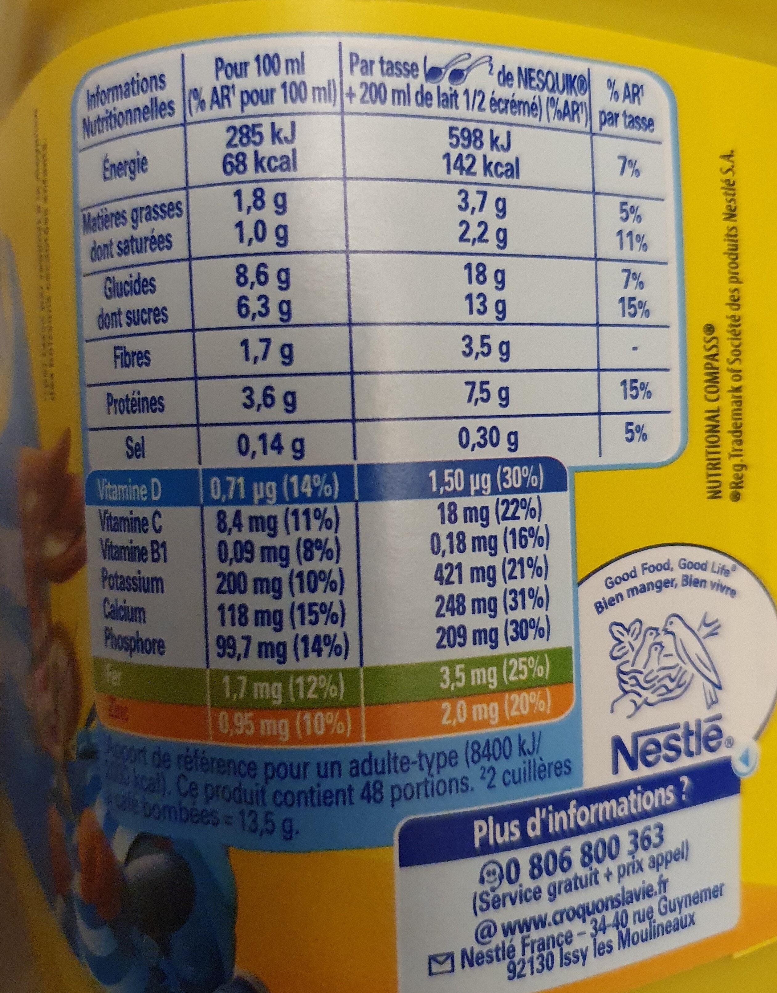 NESQUIK Moins de Sucres Poudre Cacaotée boîte - Información nutricional - fr