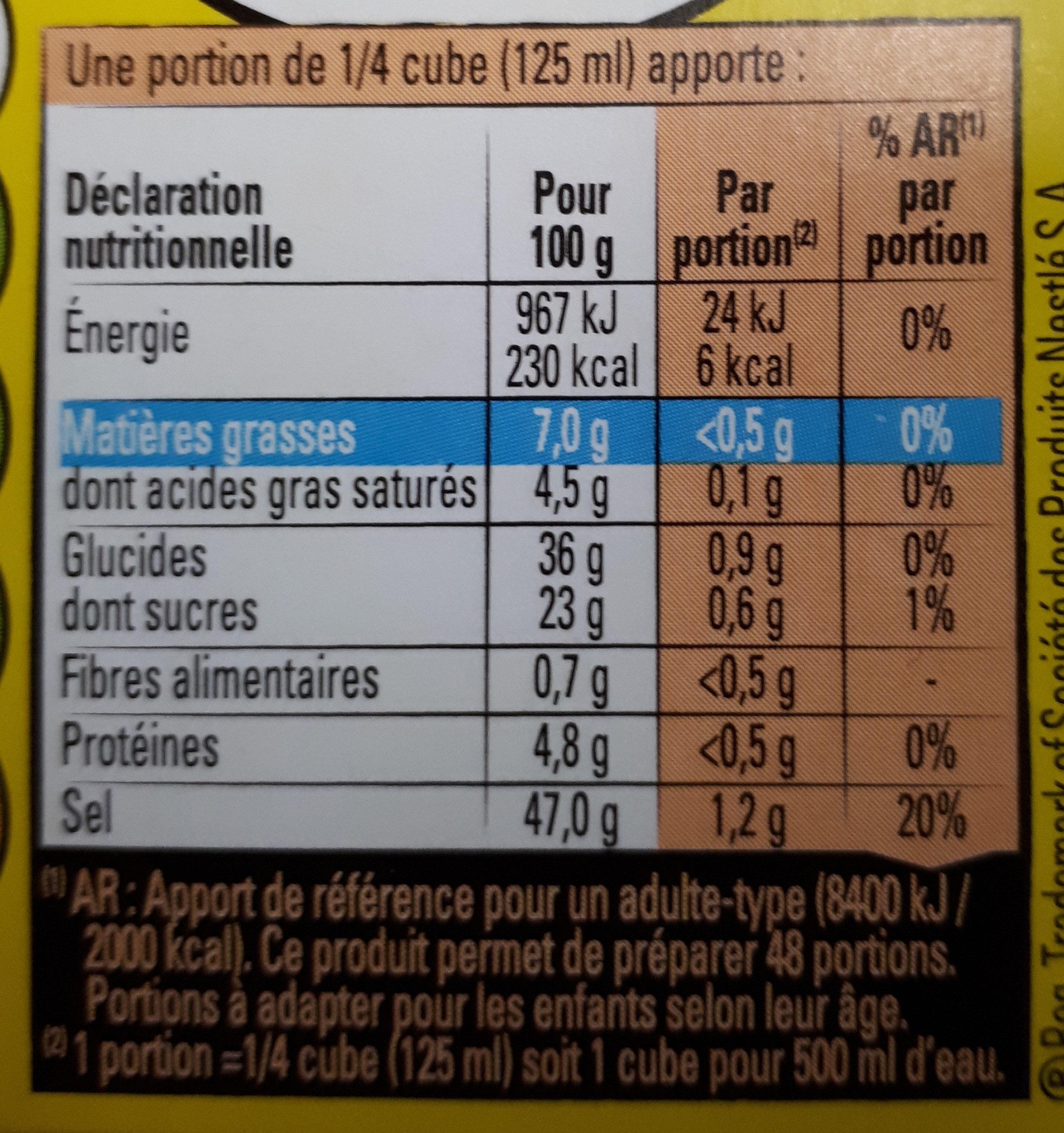 MAGGI Bouillon KUB Pot-au-feu Dégraissé x12 cubes - Valori nutrizionali - fr