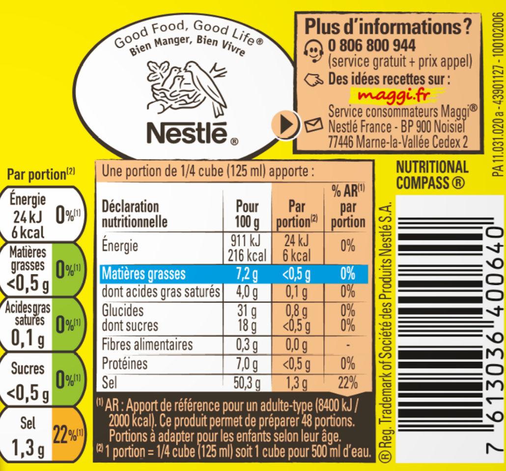 Bouillon Kub degraissé volaille - Voedingswaarden - fr