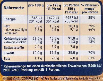 Die Backfrische Lachs Spinat - Nutrition facts - de