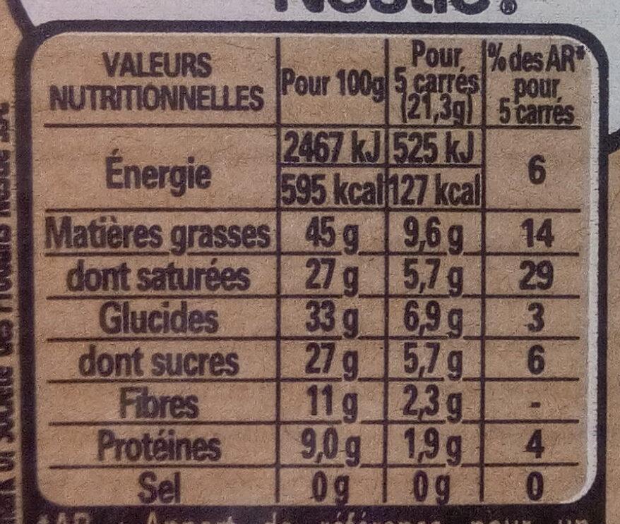 NESTLE DESSERT Noir Absolu 3x170g - Valori nutrizionali - fr