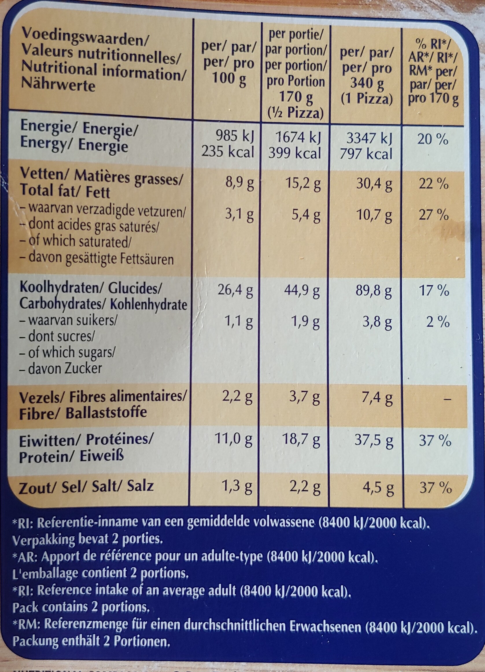 sensationale tonijn pizza - Voedingswaarden - nl