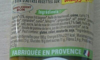 Purée d'Aromates, CURRY - Ingrediënten