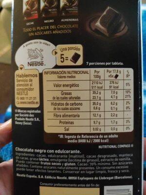 Chocolate negro intenso sin azúcares añadidos - Informació nutricional