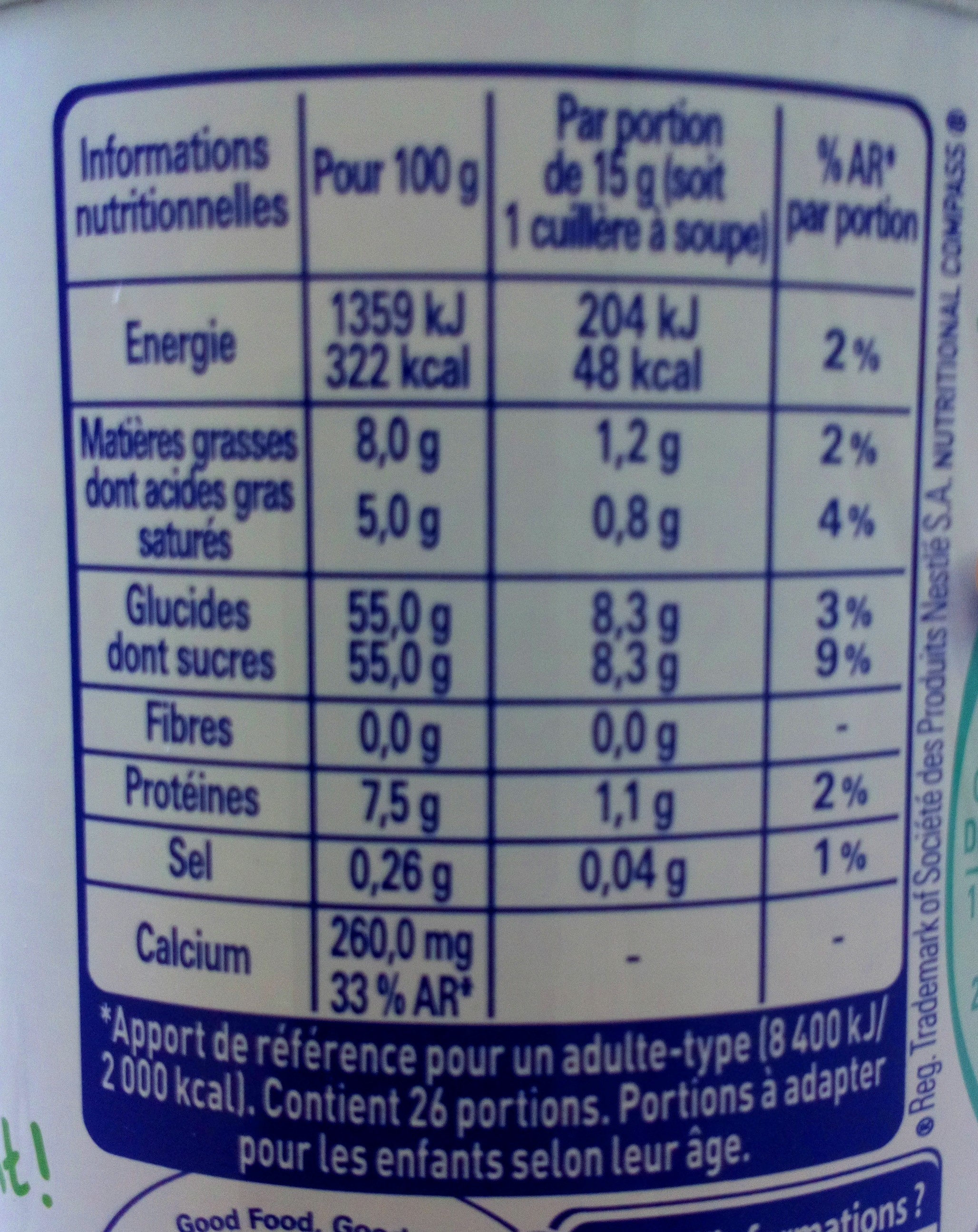 Lait concentré sucré - Nutrition facts - fr