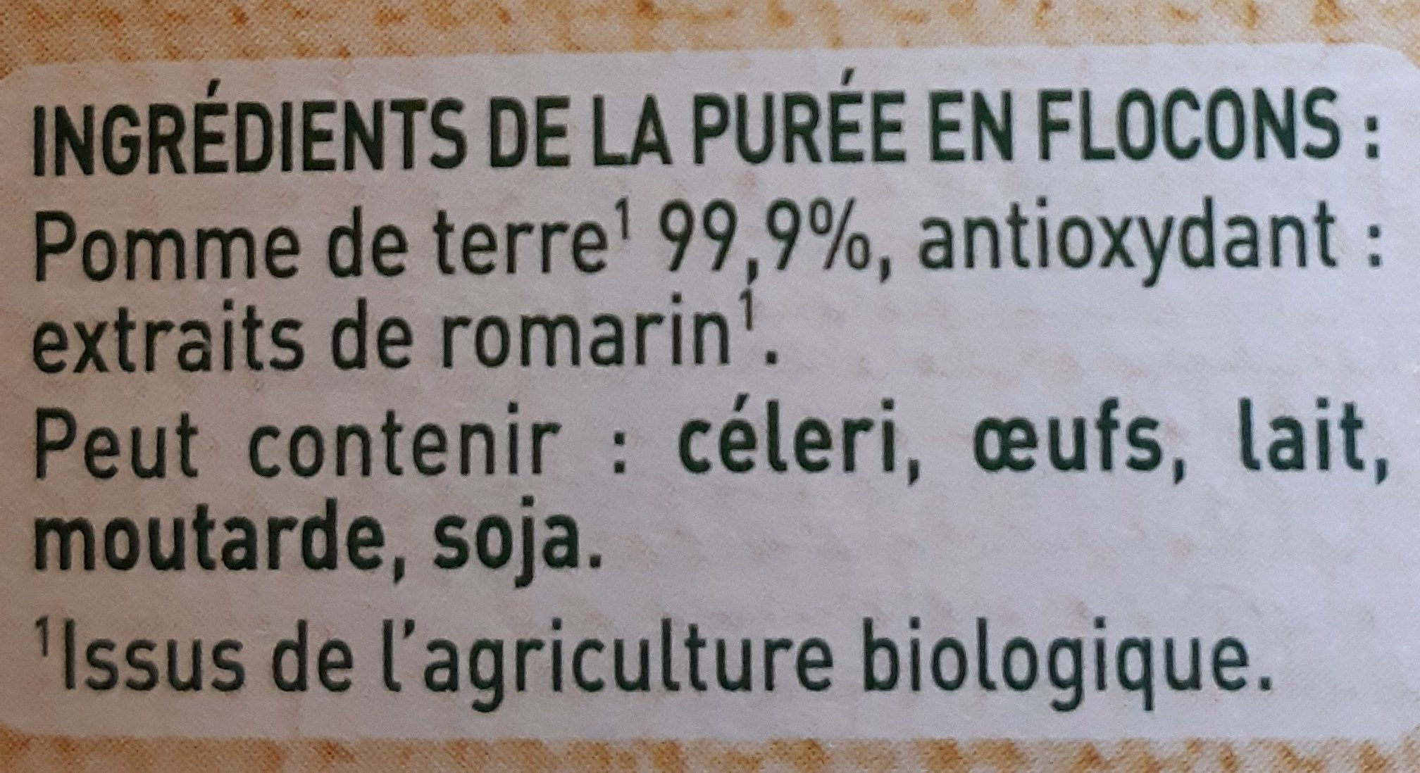 MOUSLINE Purée Bio Nature - Ingredienti - fr