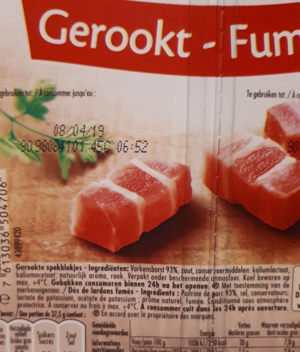 Dés de lardons fumés - Ingredients - fr