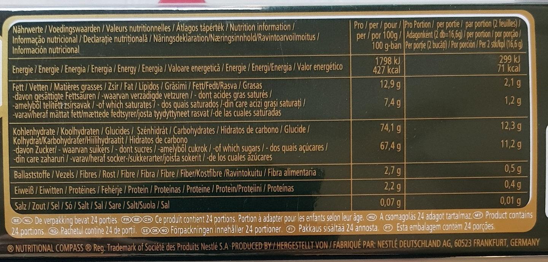 After eight mint orange - Informations nutritionnelles - fr