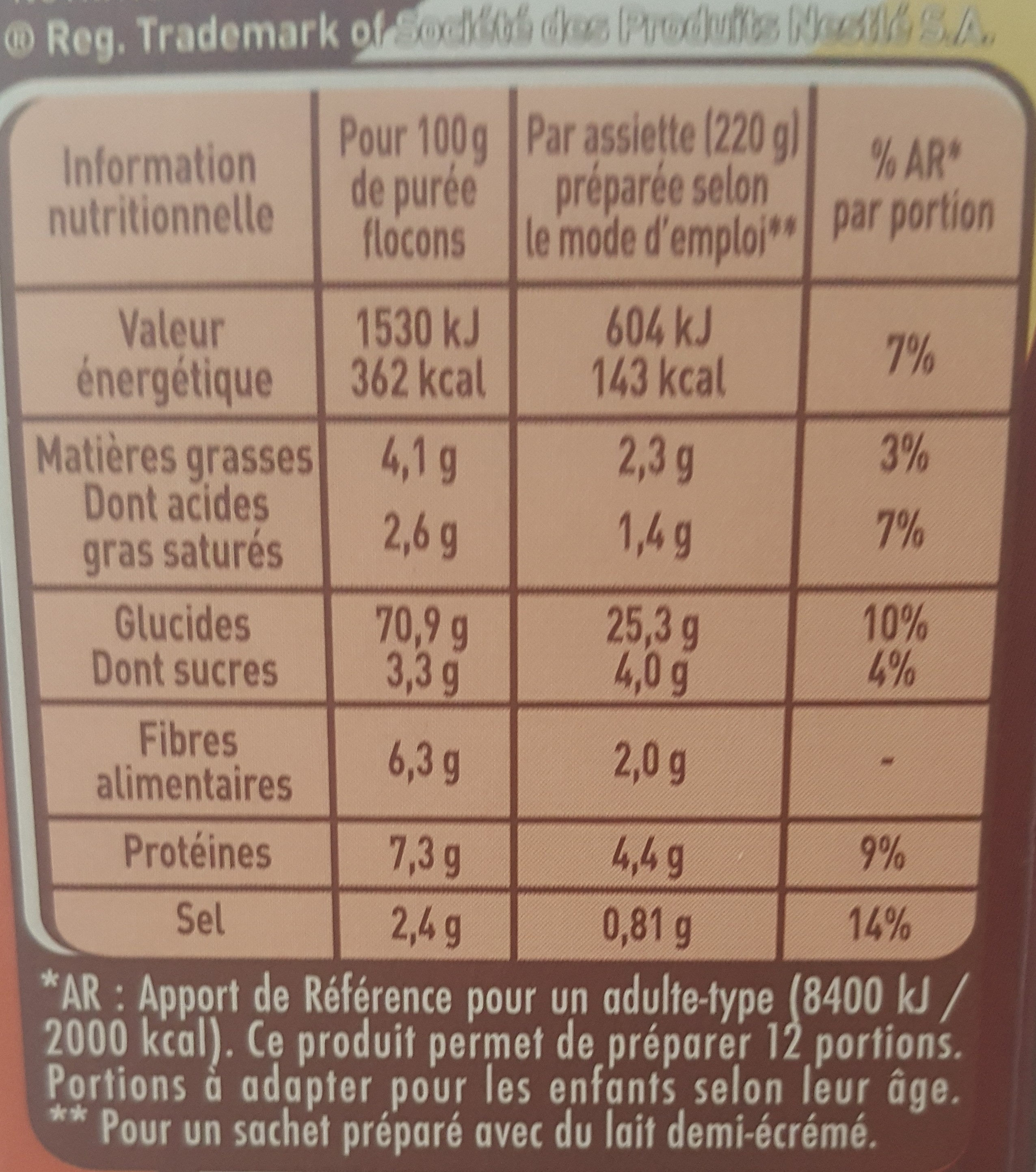 Purée Mousline - Nutrition facts