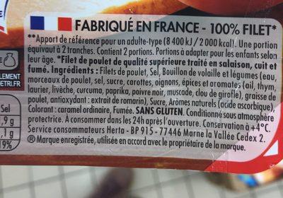 Filet de poulet fumé sans nitrite - Ingrédients - fr