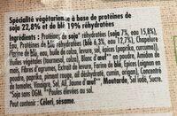Escalope soja & blé - Ingrédients - fr