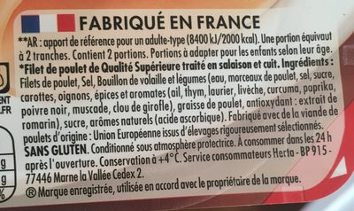 Blanc de Poulet Nature 4 tranches Sans Nitrite - Ingrediënten - fr