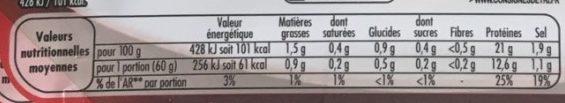 Blanc de Poulet Nature 4 tranches Sans Nitrite - Voedingswaarden - fr