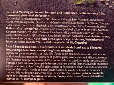 Lasagne bolognese gluten & lactose free - Ingrédients