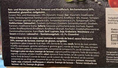 Lasagne bolognese gluten & lactose free - Informations nutritionnelles