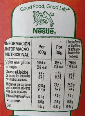 Bio cereales de desayuno con cereales integrales - Información nutricional