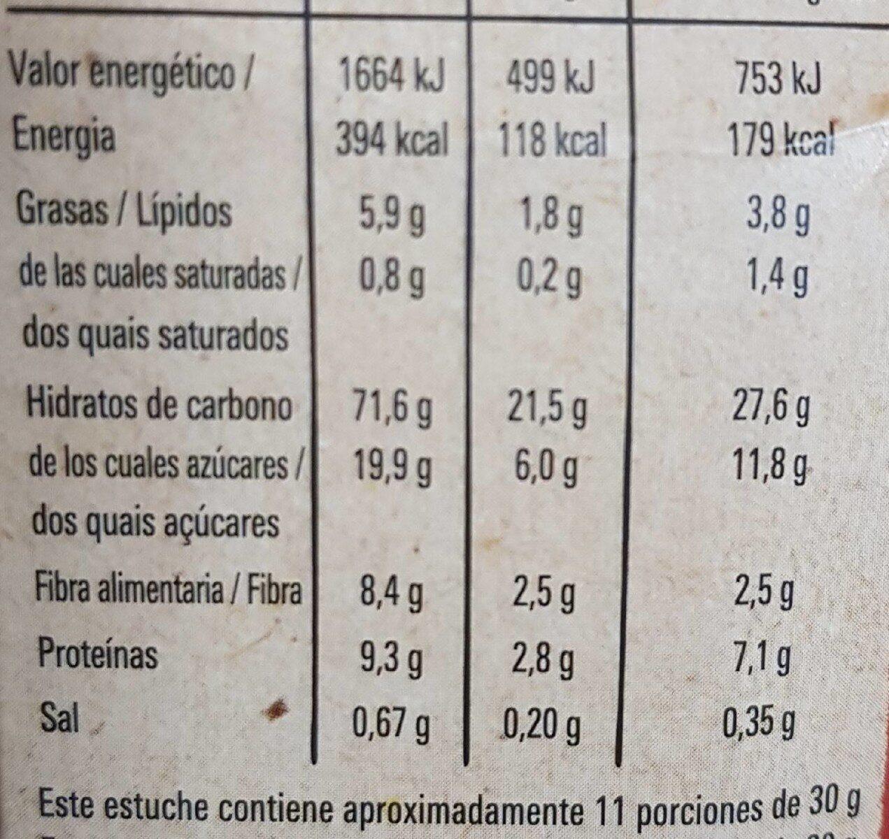 Cheerios Bio - Nutrition facts - es