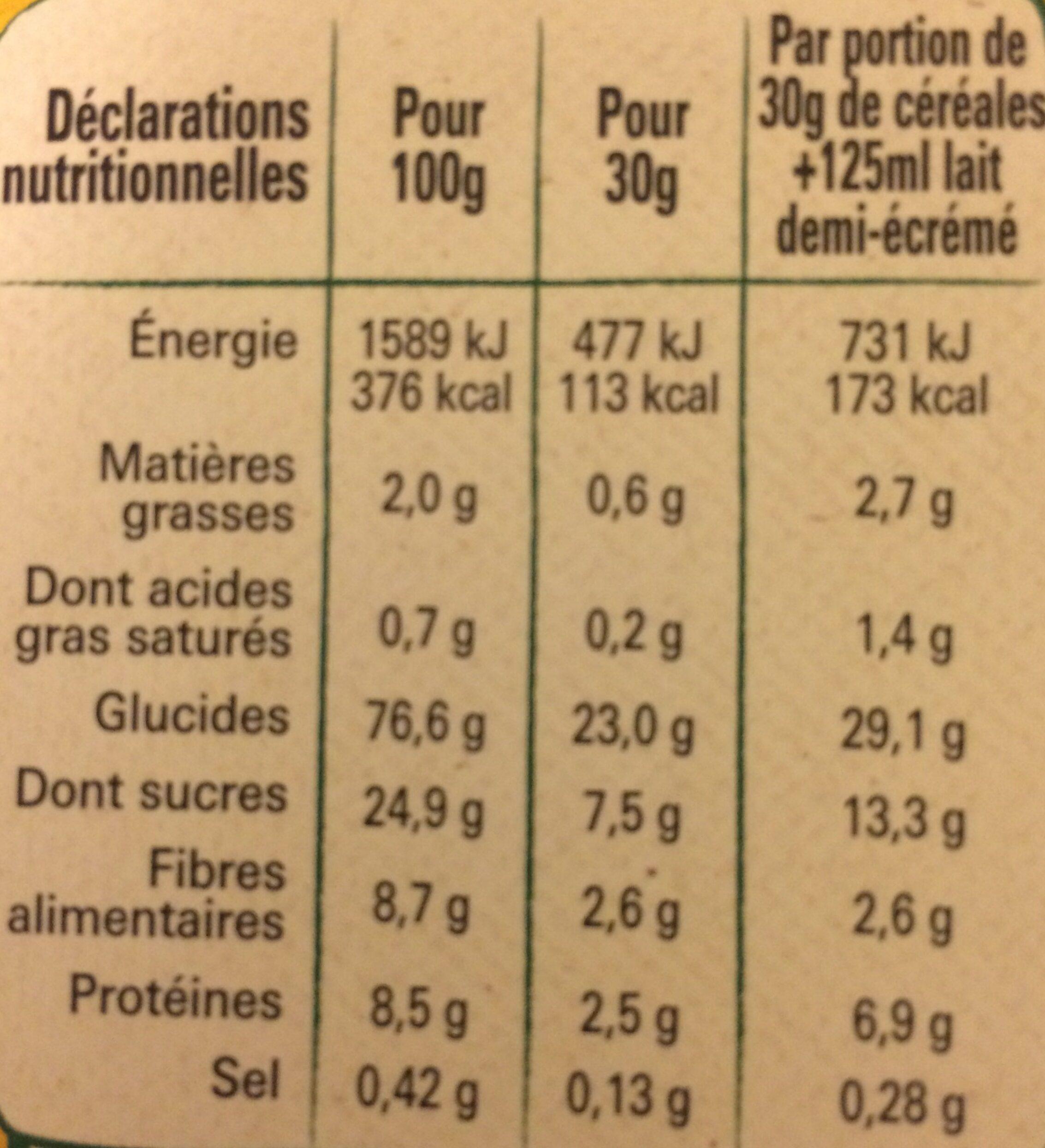 NESTLE NESQUIK BIO Céréales - Informations nutritionnelles - fr