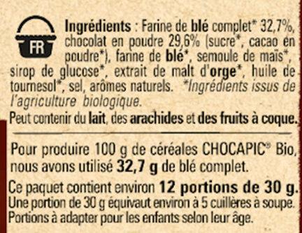 NESTLE CHOCAPIC BIO Céréales - Ingrédients - fr