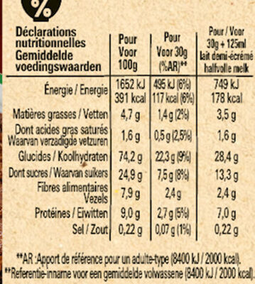 NESTLE CHOCAPIC BIO Céréales - Informations nutritionnelles - fr