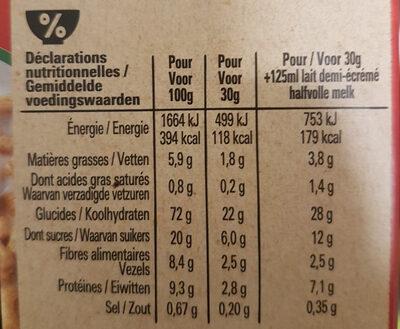 NESTLE CHEERIOS BIO Céréales - Nutrition facts - en