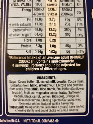 smarties egg - Ingredients - en