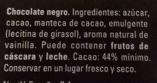 Dolca chocolate negro - المكونات - es