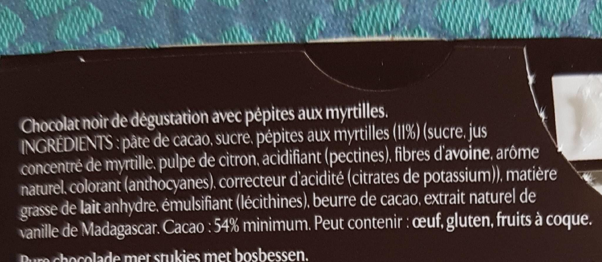 Chocolat noir myrtille - Ingrédients - fr