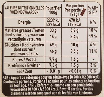 Chocolat noir myrtille - Informations nutritionnelles - fr
